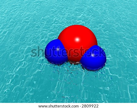 Molecule of water above ocean. Abstract. 3D.