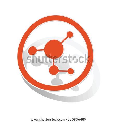 Molecule sign sticker, orange circle with image inside, on white background - stock photo