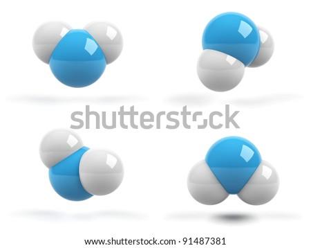 molecules on white background - stock photo