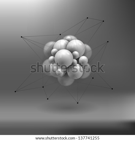 molecules spheres abstract background . molecular structure. rasterized/bitmap version - stock photo