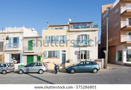 MOLINAR, MALLORCA, BALEARIC ISLANDS, SPAIN - DECEMBER 22, 2015: Molinar buildings in sunshine on December 22, 2015 in Palma de Mallorca, Balearic islands, Spain