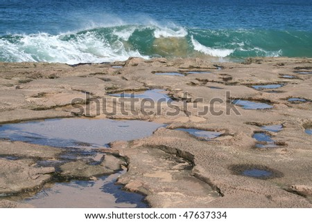 Molokai Hawaii Tide Pools - stock photo