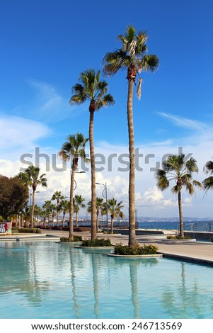 Molos Promenade at the beach front in Limassol, Cyprus - stock photo
