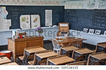 MOLSON, WA/USA - MAY 28, 2008: Historic museum depicts a turn of the century classroom accurately for educational purposes. - stock photo