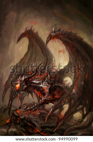 molten armored knight dragon on rock - stock photo