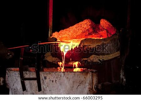 molten hot steel - stock photo
