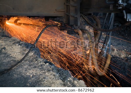 Molten iron close up shot