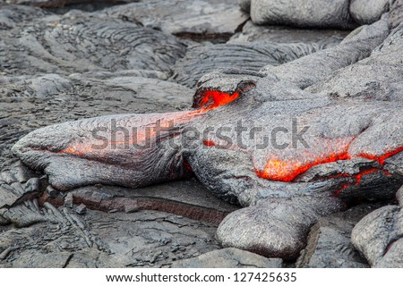 Molten lava, Big Island, Hawaii - stock photo