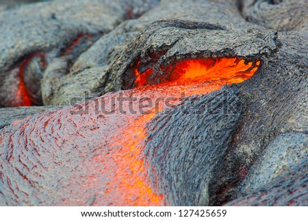 Molten lava, Big Island, Hawaii - stock photo