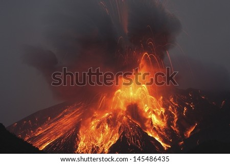 Molten lava erupts from Sakurajima Kagoshima Japan - stock photo