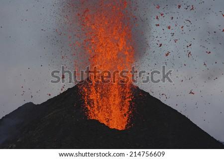 Molten lava erupts from Stromboli Sicily - stock photo