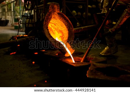 molten metal poured  into the sand molding and aluminum alloy casting - stock photo
