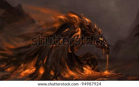 molten rock dragon rising from stones - stock photo