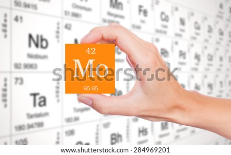 Molybdenum symbol handheld in front of the periodic table - stock photo