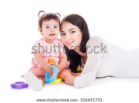 Mom and baby of fifteen months of age - stock photo