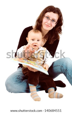 mom and child with a book - stock photo