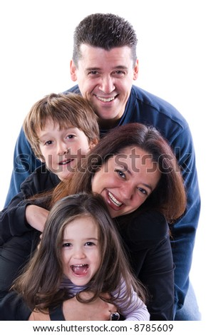 mom and dad with siblings on a white - stock photo