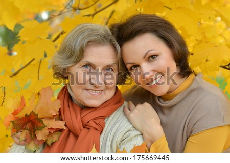 Mom and daughter for a walk during the fall of the leaves in the park - stock photo