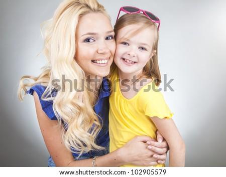 Mom and Daughter Having Fun - stock photo