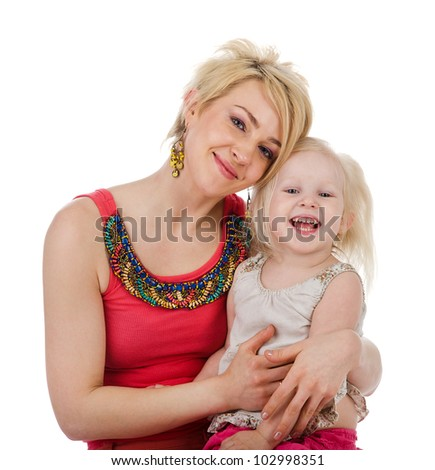 Mom And Daughter. isolated on white background - stock photo