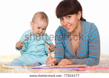 mom and her child on a white background