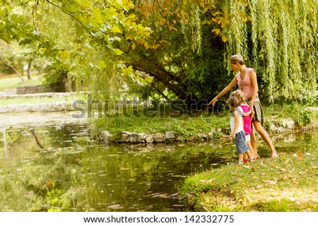 Mom and her kids - stock photo