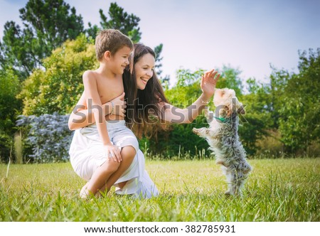 Mom and son on the nature - stock photo