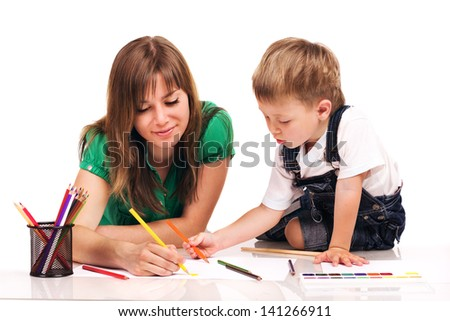 Mom and son painting a picture, isolated on white
