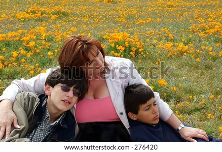 Mom and sons in poppy field - stock photo