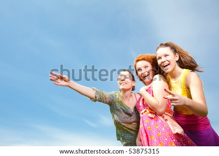 Mom and two Daughter Having Fun - stock photo