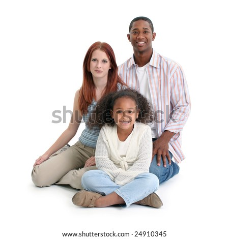Mom, dad, daughter. Happy interracial family over white background.
