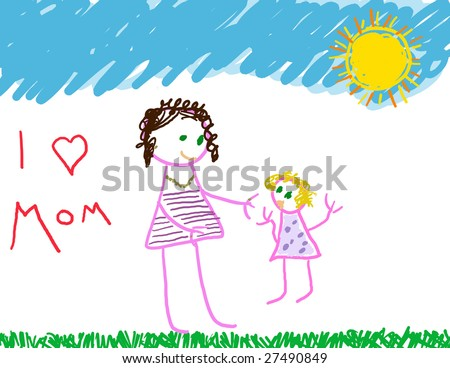 Mom & daughter drawing with I love mom message - stock photo