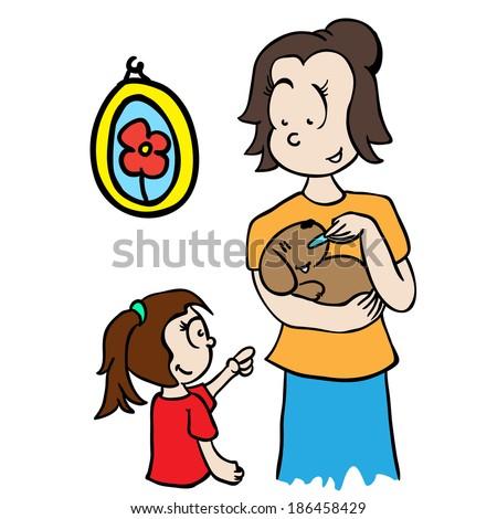 mom feeding a dog cartoon illustration - stock photo