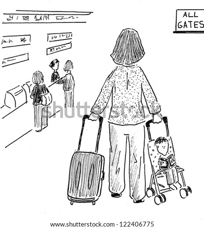 Mom has a lot to transport at the airport - stock photo
