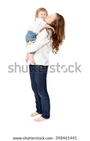 Mom kisses baby - stock photo