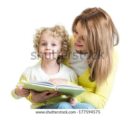 mom reading to kid a book - stock photo