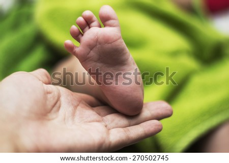 mom`s hand and baby feet - stock photo