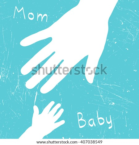 Mom's hand takes baby. Illustration with grunge texture. Raster version. - stock photo