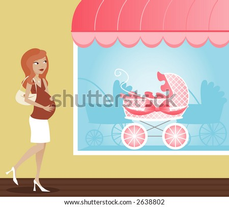 Mom-to-be out shopping for a beautiful new baby carriage - stock photo