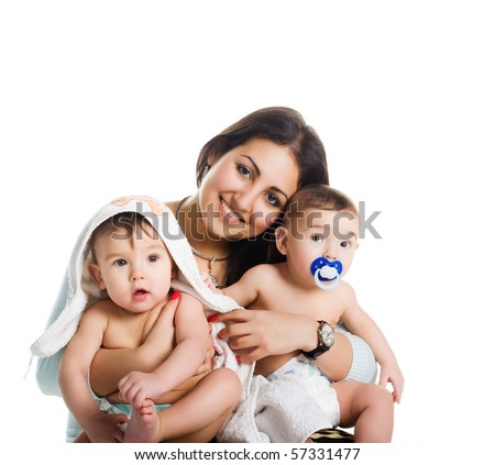 Mom with her twin sons, isolated white background - stock photo