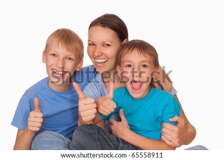 mom with  two children on a light background