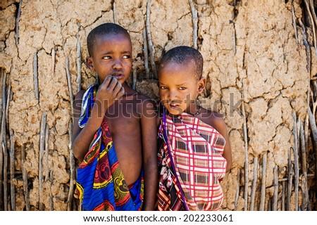 Mombasa. kenya. January 9, 2012. unidentified Maasai children - stock photo