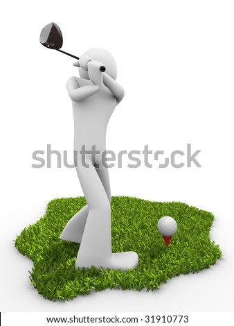 Moment before tee stroke, starting golf match - stock photo