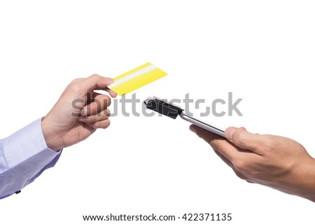 Moment of payment with a credit card through mobile terminal - stock photo