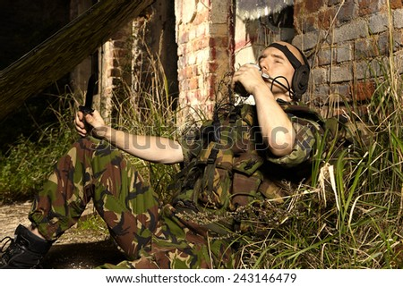 Moment of relax in war times - stock photo
