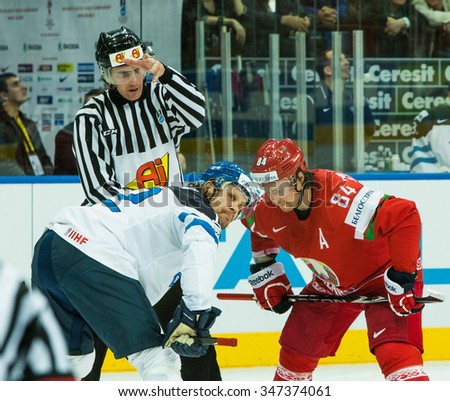 moment of the game during 2014 IIHF World Ice Hockey Championship match at Minsk Arena on May  2014 in Minsk, Belarus. - stock photo