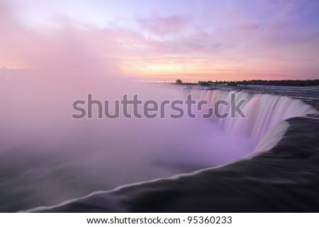 Moments before Sunrise at the Horseshoe Falls, Niagara Falls, Ontario, Canada - stock photo