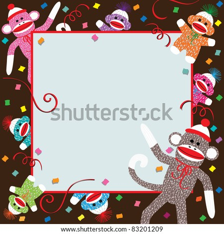 Momma, Daddy and colorful baby sock monkeys celebrate a  Birthday party - stock photo
