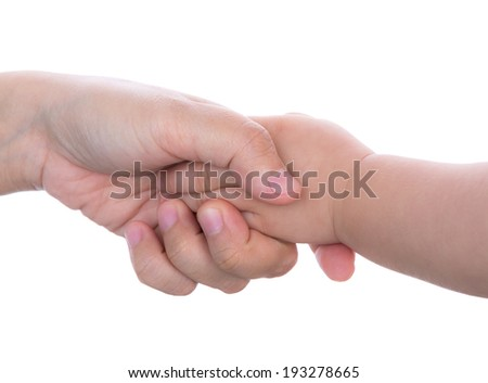 Mommy and her child hand isolated on white - stock photo