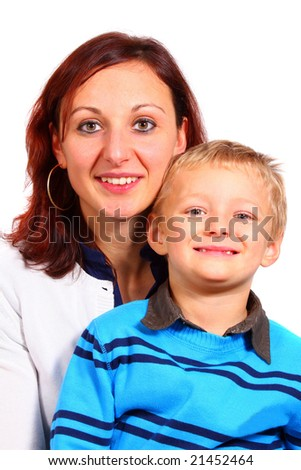 Mommy And Her Son A single mother with her young son. Isolated over white.